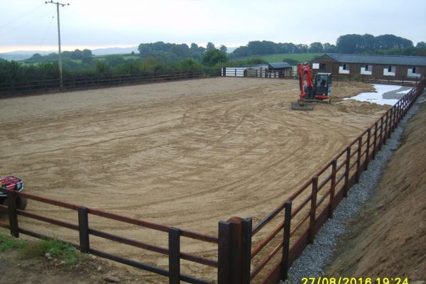Under construction – showing the layers involved in building a successful riding arena
