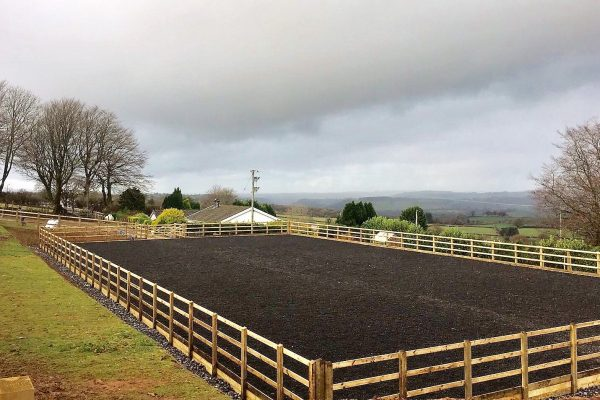 riding arena with fencing