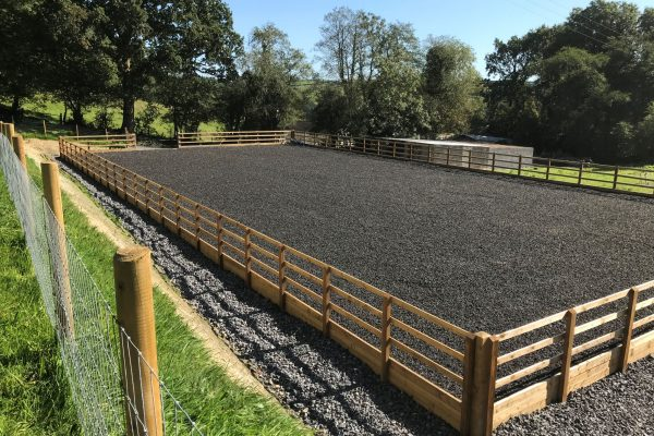 arena carmarthen 20m x 40m chipped rubber completed with add stock fencing