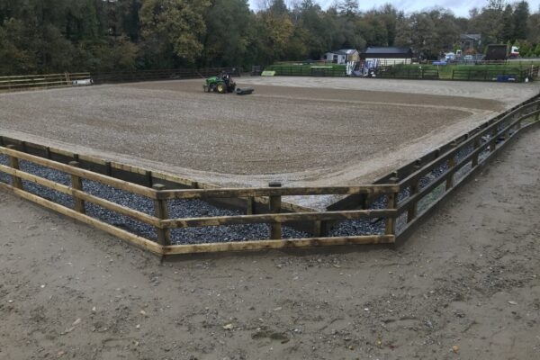outer track surrounding riding arena built by Equi Arenas west Wales