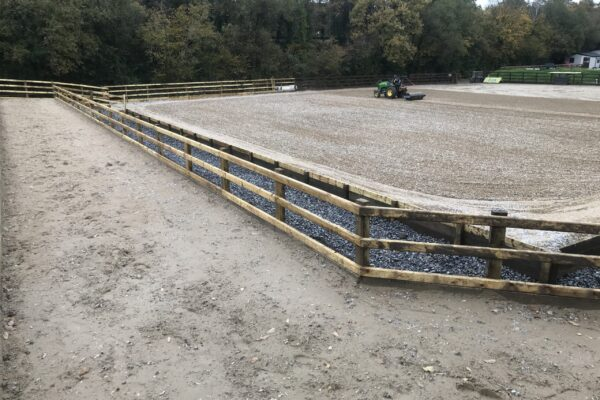Arena extended and outer track constructed Equi Arenas west Wales
